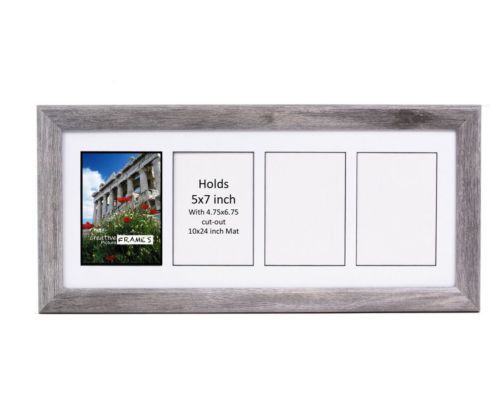 CreativePF 4 Opening Multi 5x7 Driftwood Picture Frame 10x24 White ...