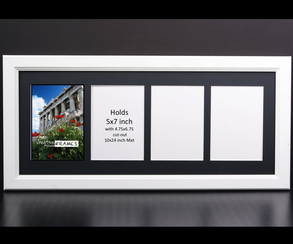 CreativePF 4 Opening Multi 5x7 White Picture Frame w/ 10x24 Black ...