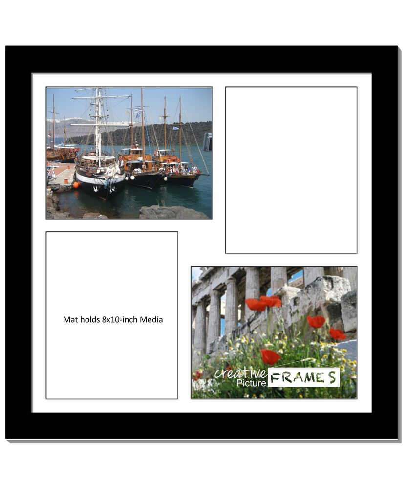 Creativepf 4 Opening Multi 8x10 Black Picture Frame W