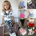 Toddler Kids Baby Girls T-shirt Tops+Pants/Shorts/Dress Outfits Clothes 2PCS Set