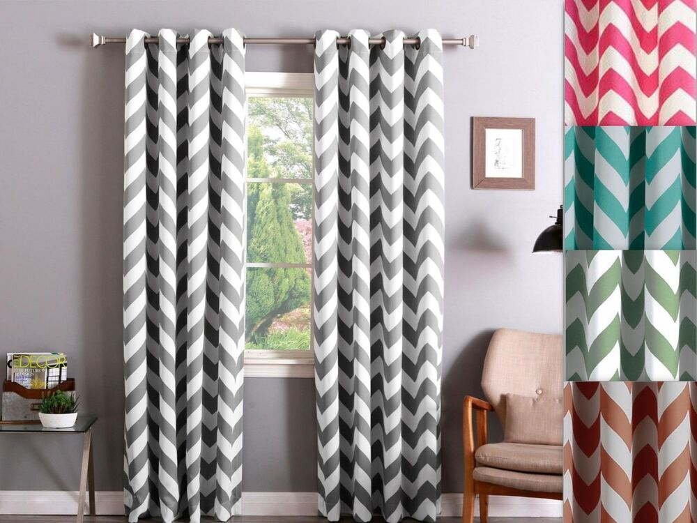 Chevron 100 Thermal Blackout Grommet Window Curtain Panel Heavy Extra Wide Ebay