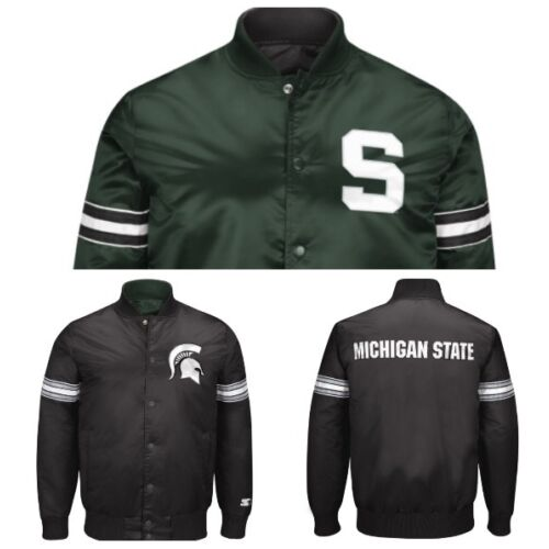 authentic-michigan-state-spartans-reversible-starter-ncaa-satin-jacket-black