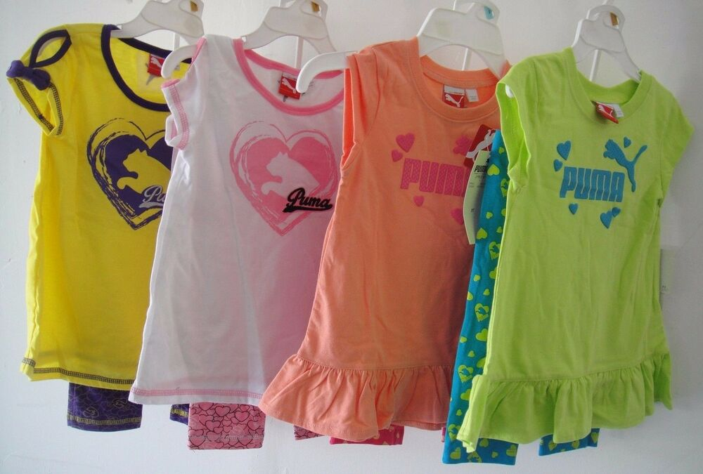 d4c5fed3b061 Details about PUMA NWT Girls 2PC Tee Top Shirt Pants Legging 2 2T 3 3T 4 4T  5 6 6X