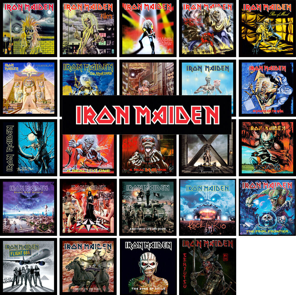 iron maiden 24 pack of album cover discography magnets lot metallica kiss ac dc ebay. Black Bedroom Furniture Sets. Home Design Ideas
