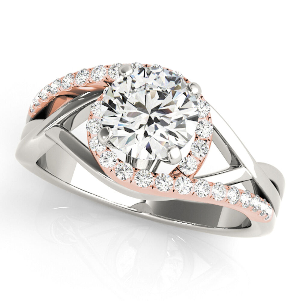 1/2Ct Halo Two-Tone Intertwined Women's Diamond Wedding ...