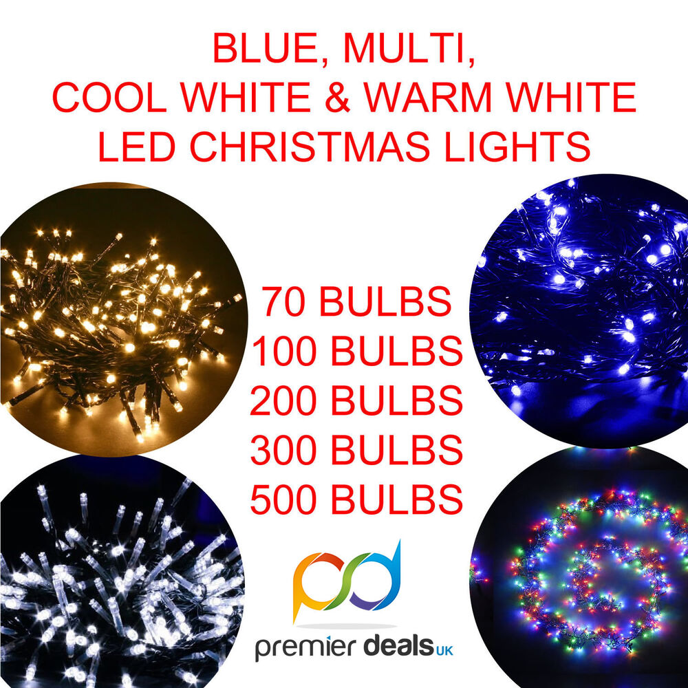 BLUE MULTI WARM WHITE COOL WHITE LED CHRISTMAS LIGHTS 70 ...