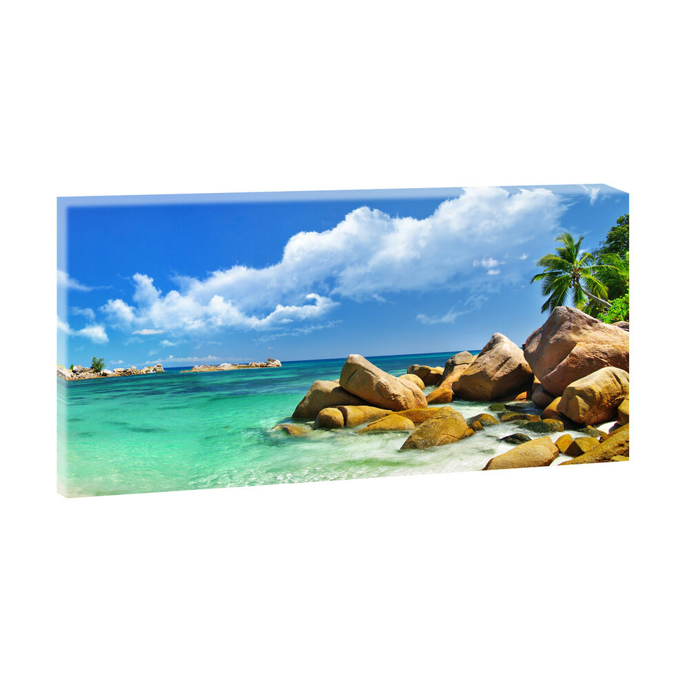 seychellen bild strand meer modern edel poster leinwand xxl 160 cm 80 cm 207 ebay. Black Bedroom Furniture Sets. Home Design Ideas