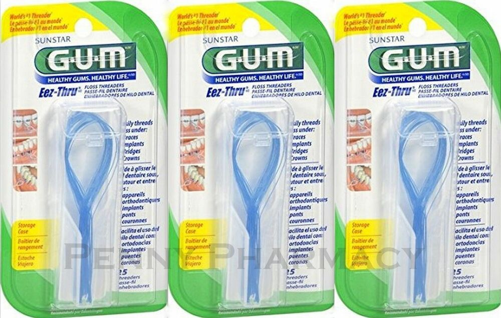 ab7249595 GUM THREADERS Eez-Thru floss 25 ct ( 3 pack ) FRESH PHARMACY STOCK!  70942098403