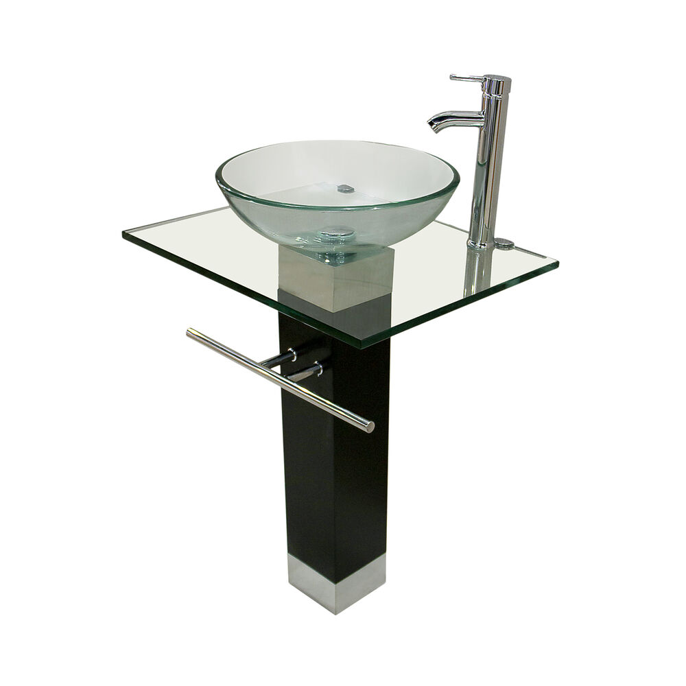 Modern Bathroom Pedestal Clear Tempered Glass Vessel Sink Vanity Faucet Combo Ebay