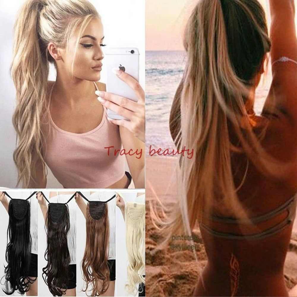 US 100% Real New Clip In Natural Hair Extensions Pony Tail