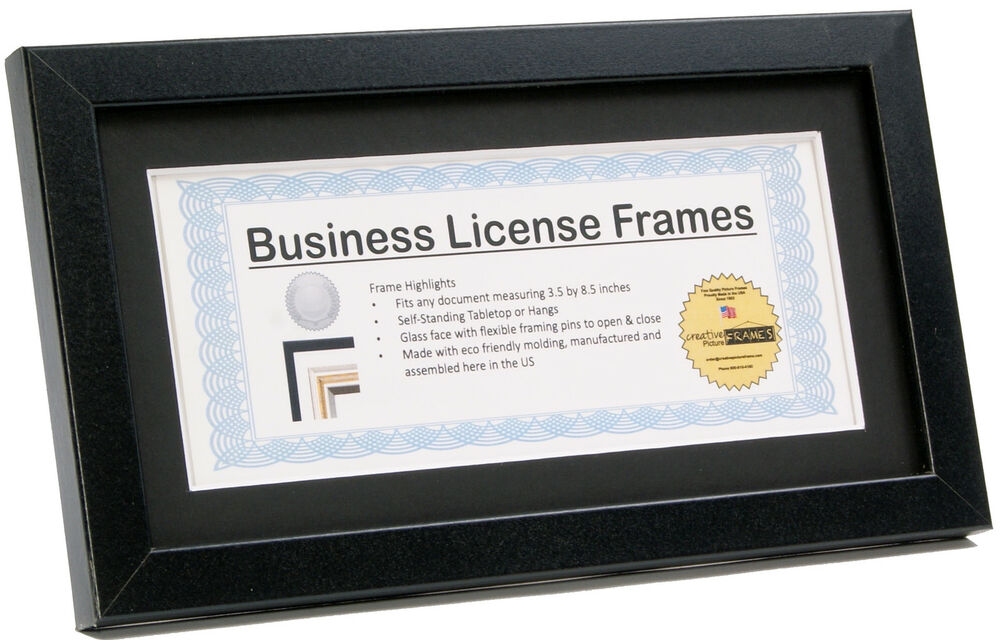 CreativePF [5.5x10.5bk-b] Black Business License Frame Holds 3.5x8.5 ...