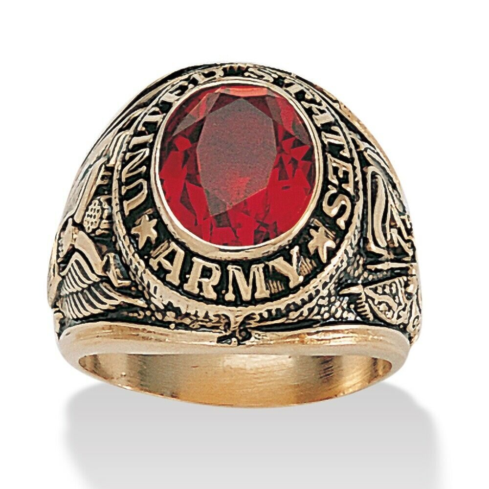Men S Oval Cut Ruby 14k Gold Plated Antique Finish Army