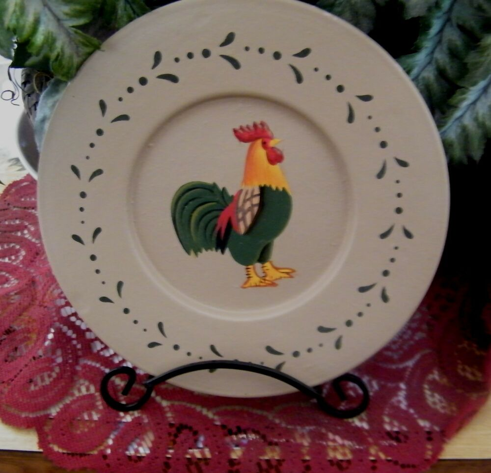 7 country wood decorative plate charger chicken rooster for Decor plates