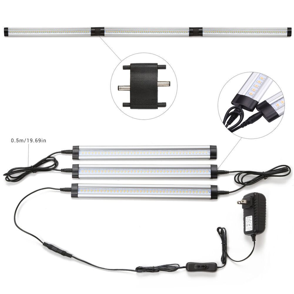 3pcs fluorescent tube under cabinet lamp 117 led light bar lighting kit lamp ebay. Black Bedroom Furniture Sets. Home Design Ideas