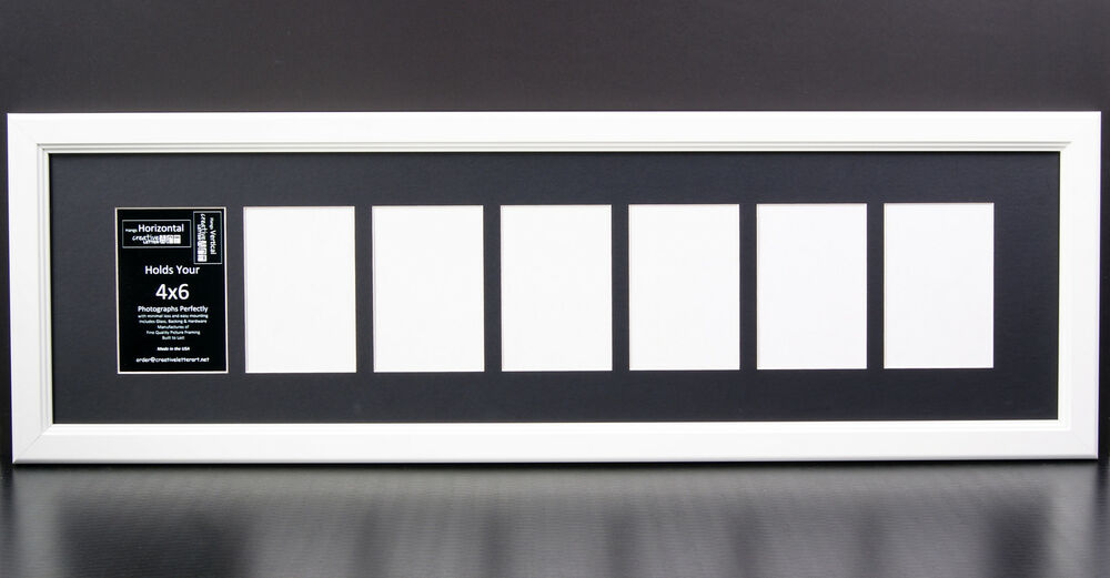 7 Opening Glass Face 10x36 White Picture Frame Holds 4x6 Media Black ...