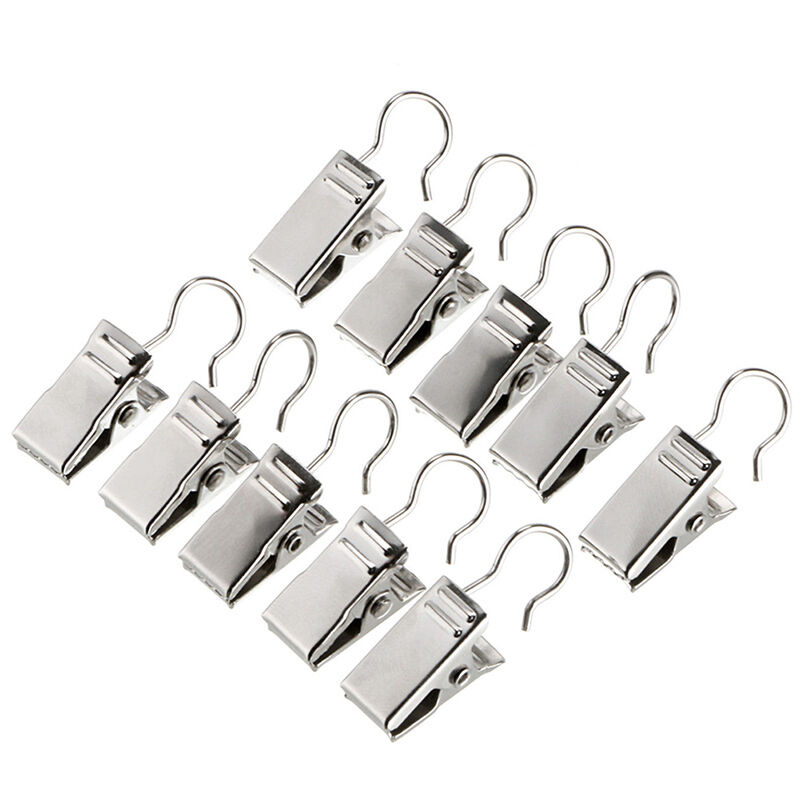 20pcs stainless steel shower window curtain rod clips hook. Black Bedroom Furniture Sets. Home Design Ideas