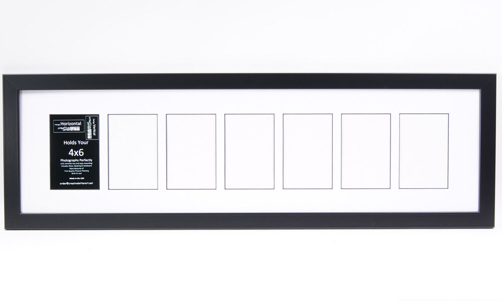 7 Opening Glass Face 10x36 Black Picture Frame Holds 4x6 Media White ...