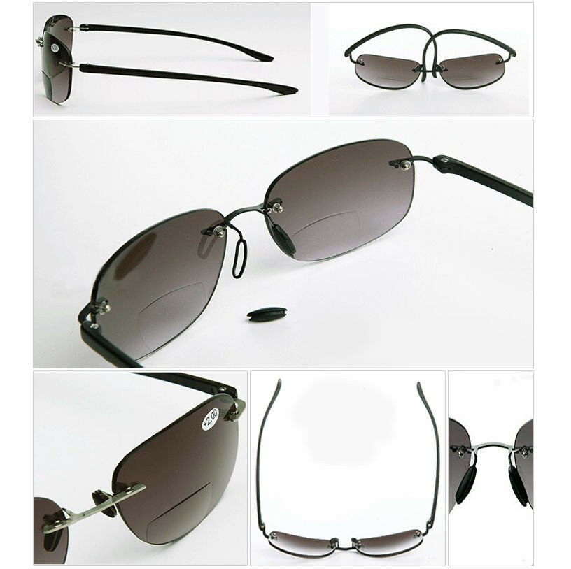 Rimless Bifocal Glasses : Fashion Rimless Bifocals Black Reading Glasses Sunglasses ...