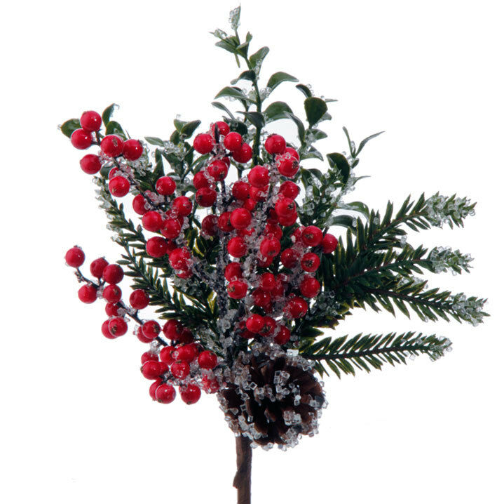"Christmas Berry Tree Hawaii: NEW~RAZ Imports~14"" Iced Berry Pine Christmas Pick~Branch"