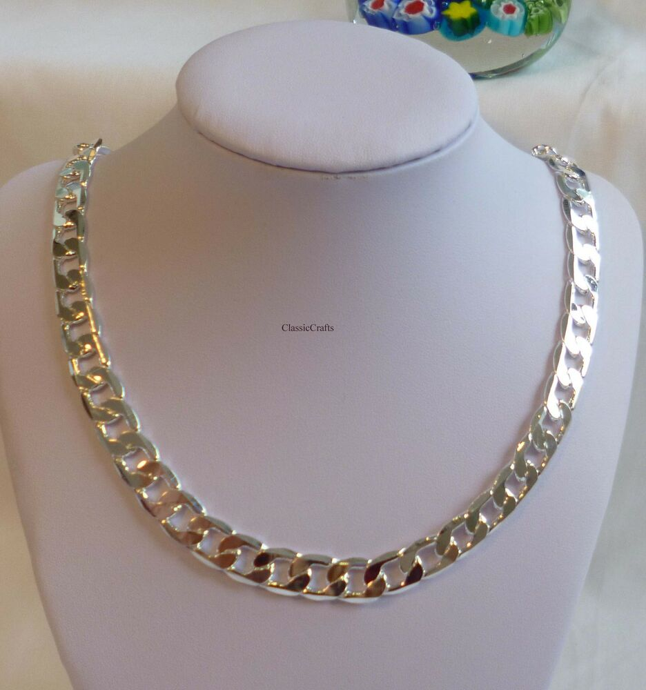 Thick 925 sterling silver filled men curb chain necklace ...