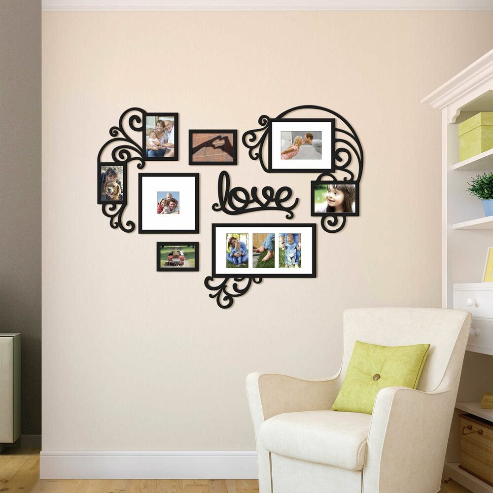 Wallverbs Family Tree Personalized Picture Frame Set: Heart Love Collage Photo Picture Frame Set Black Wall Art