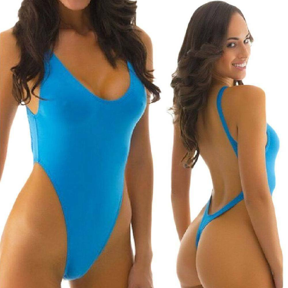 c8f68f283 Details about Sexy High Cut Thong One-Piece Swimsuit bathing Suits Women  Push Up Padded Bikini