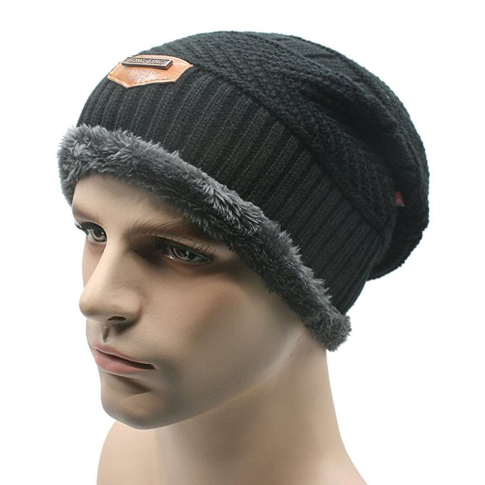 Details about Men Soft Lined Thick Wool Knit Skull Cap Warm Winter Slouchy  Beanies Hat 8fc0e6dea73