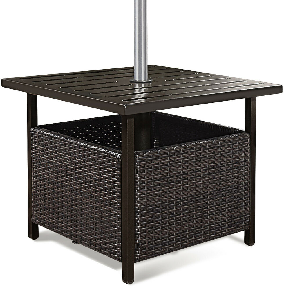 brown rattan wicker steel side table outdoor furniture deck garden patio pool 638908067131 ebay. Black Bedroom Furniture Sets. Home Design Ideas