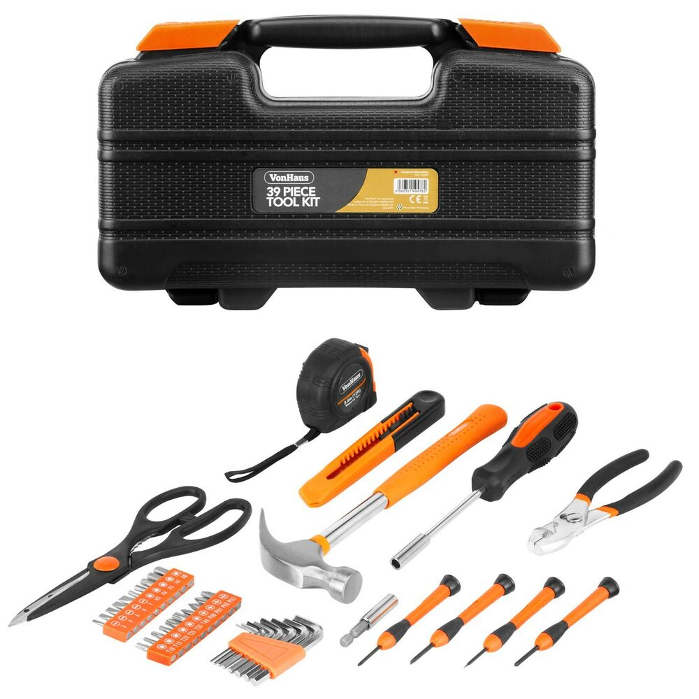 vonhaus 39 piece household hand tool set kit box with hard storage case ebay. Black Bedroom Furniture Sets. Home Design Ideas