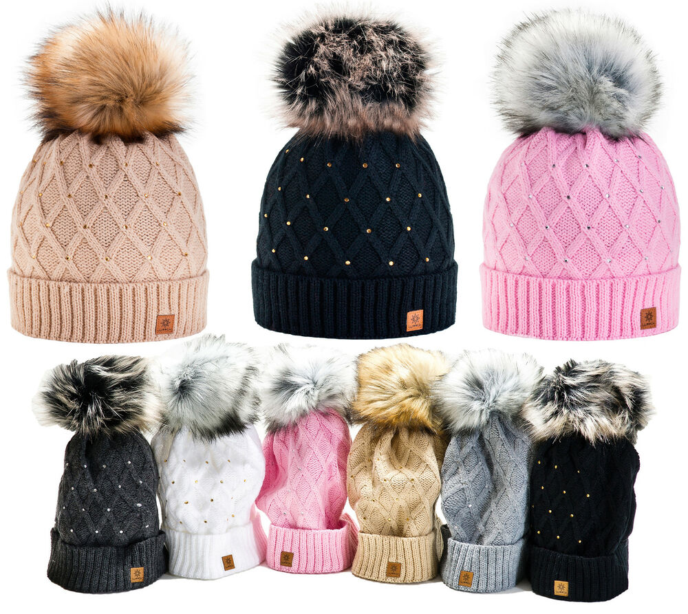 Details about Women Winter Beanie Hat Knitted CRYSTAL Ladies Fashion Large  Pom Pom Gifts de25d330d88