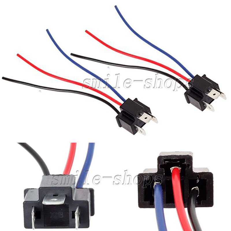 2 h4 9003 headlight bulb male pigtail wire harness. Black Bedroom Furniture Sets. Home Design Ideas