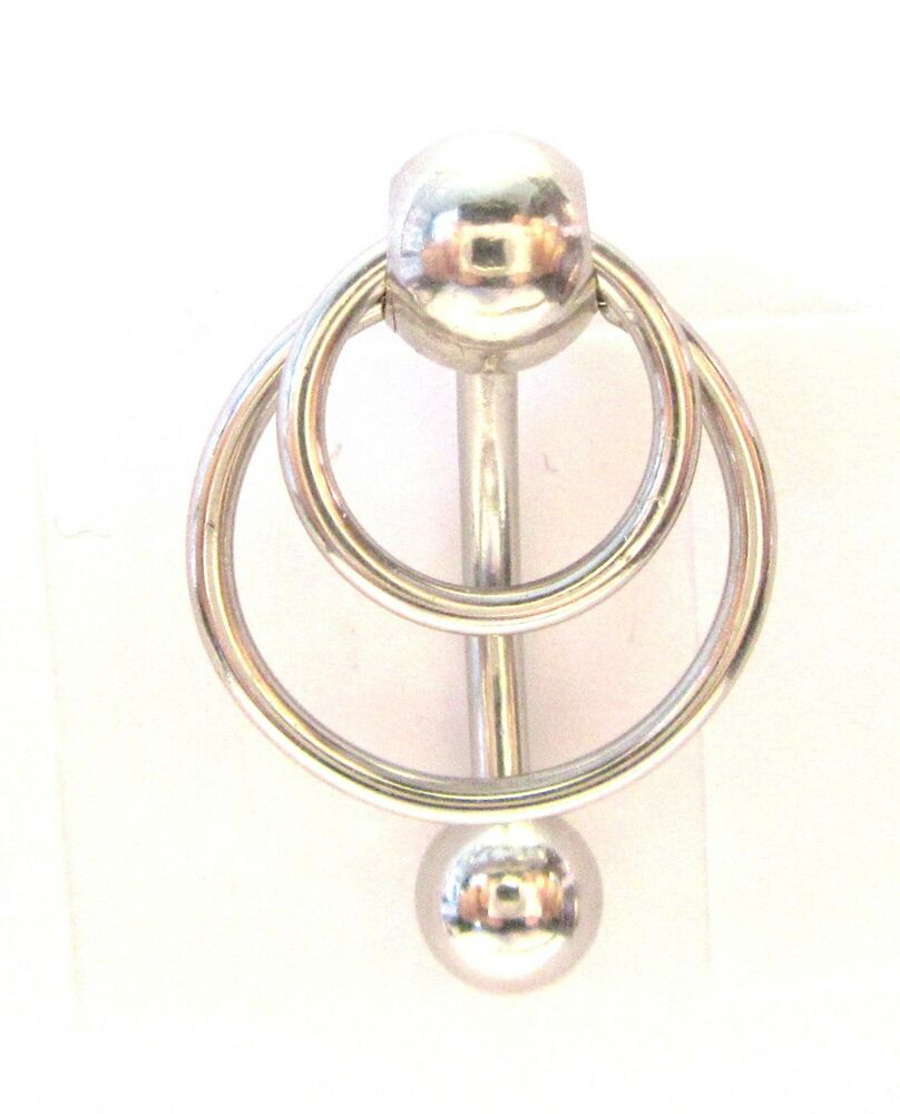 Surgical Steel Double Hoop Dangle Barbell VCH Clit