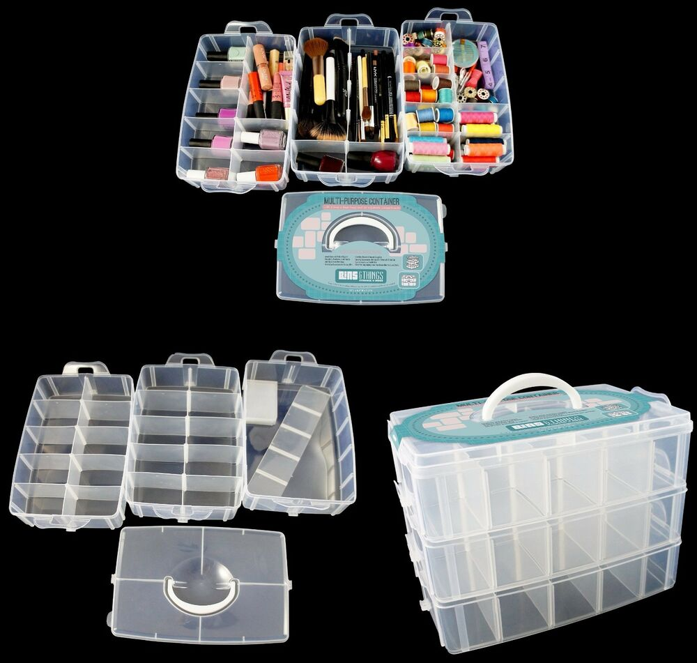 Nail polish jewelry craft plastic storage box container for Craft storage boxes plastic