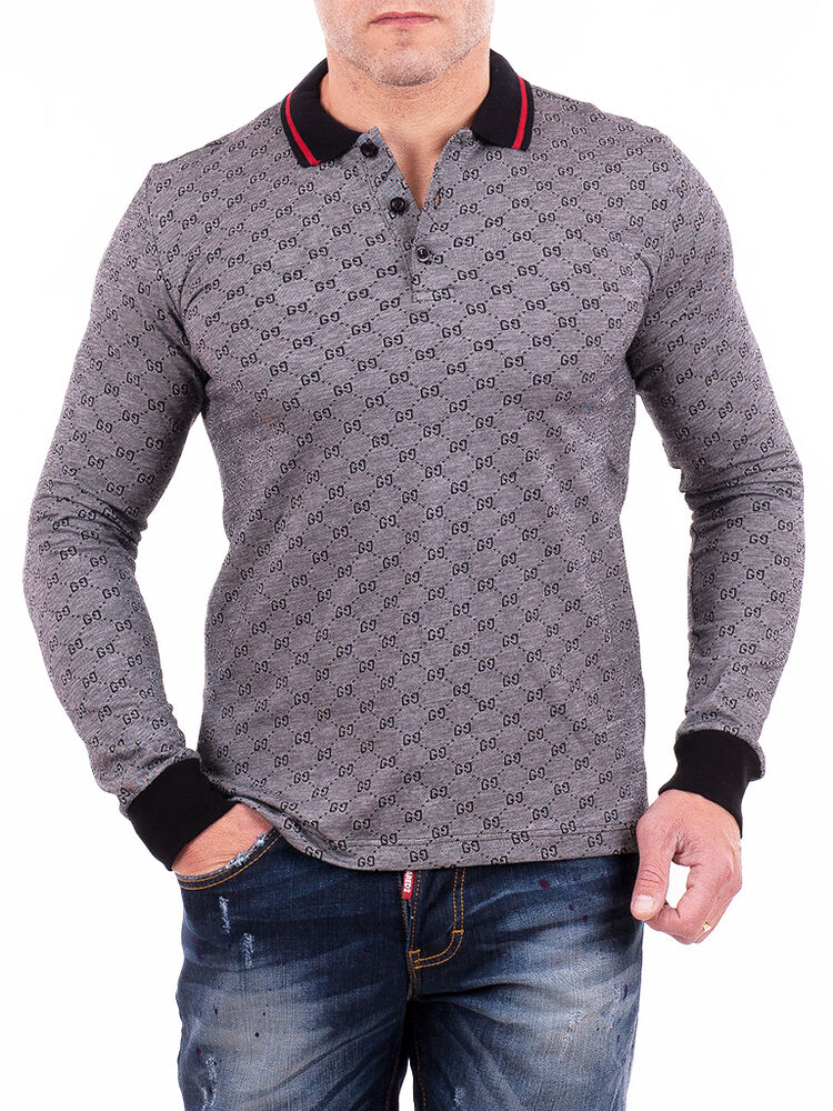 Gucci polo shirt mens long sleeve monogram t shirt gray for Mens 100 cotton long sleeve t shirts