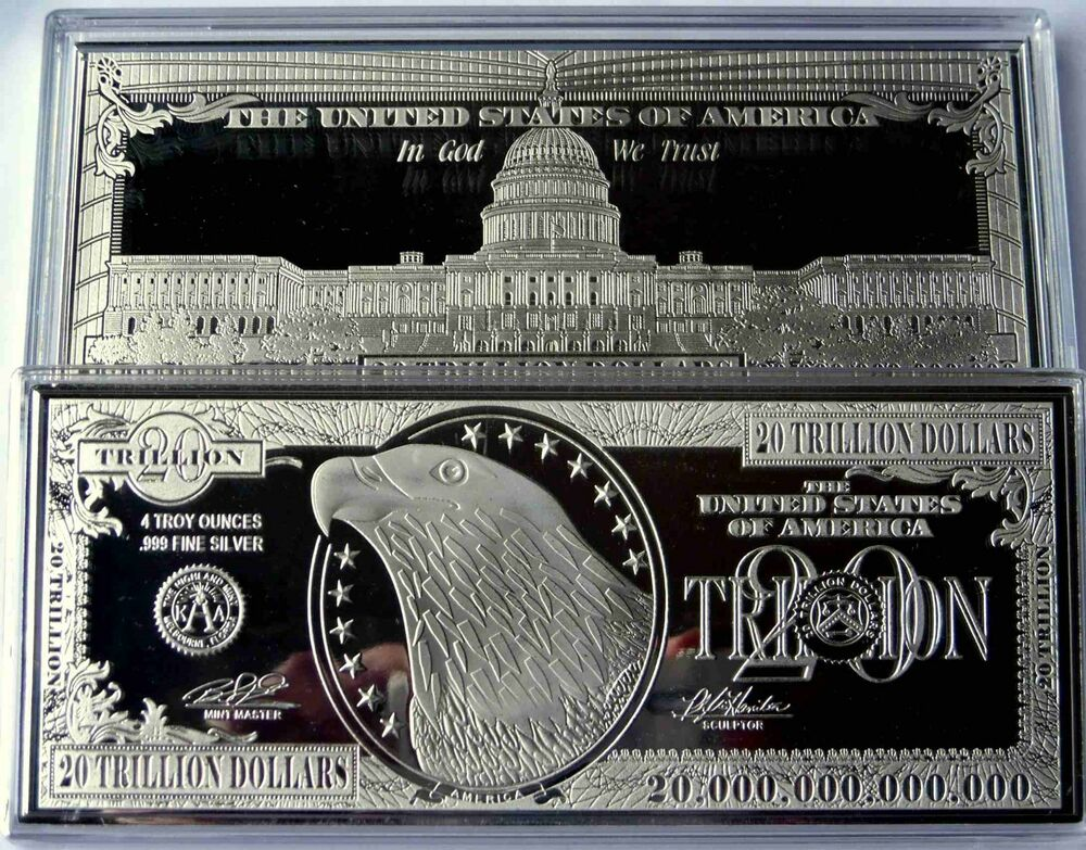 Discounted 20 Trillion Proof 4oz Silver Currency Bar In