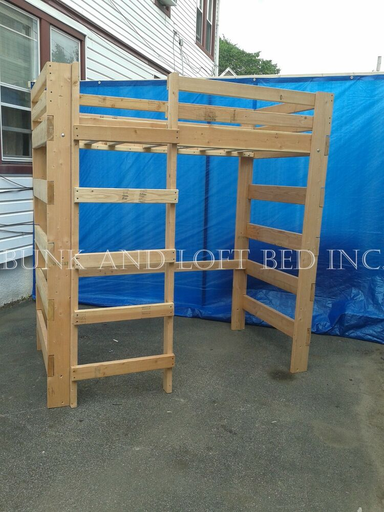 extra tall queen size heavy duty loft bed with side ladder ebay. Black Bedroom Furniture Sets. Home Design Ideas
