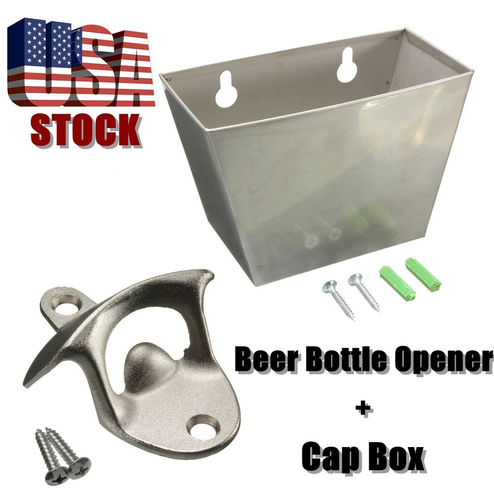 Wall mount stainless steel bar beer bottle opener cap catcher box screw new ebay - Wall mounted beer bottle opener cap catcher ...
