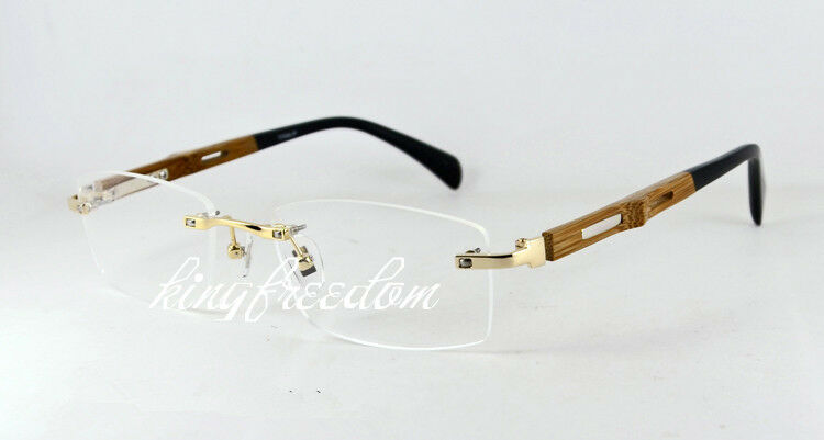 Rimless Gold Eyeglass Frames : Titanium Glasses Bamboo Temple Gold Rimless Eyeglass Frame ...