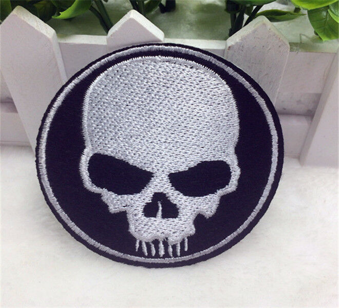 White skull iron on patch sew embroidered diy applique