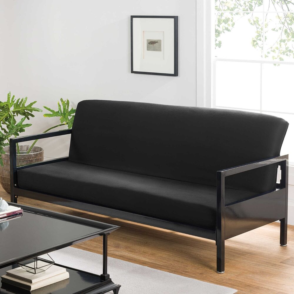 Designer Futons: Full Futon Covers Modern Black Soft Cotton Home Bed Sofa