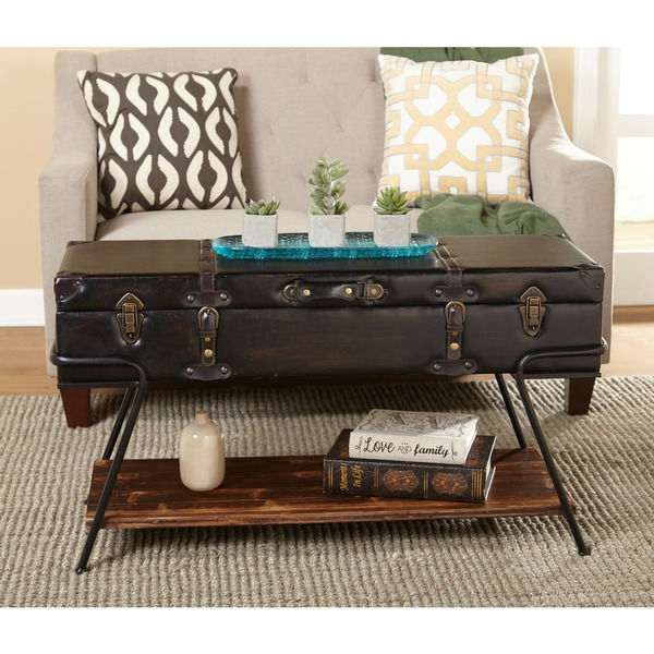 Antique Trunks As Coffee Tables: Modern Vintage Industrial Trunk Wood Coffee Table Storage