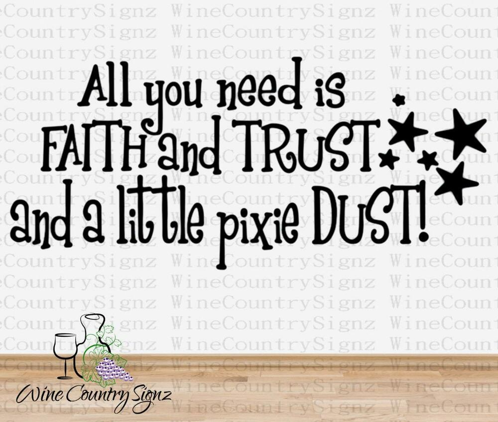 Tinkerbell Tink Faith Trust And Pixie Dust Car Wall Decal