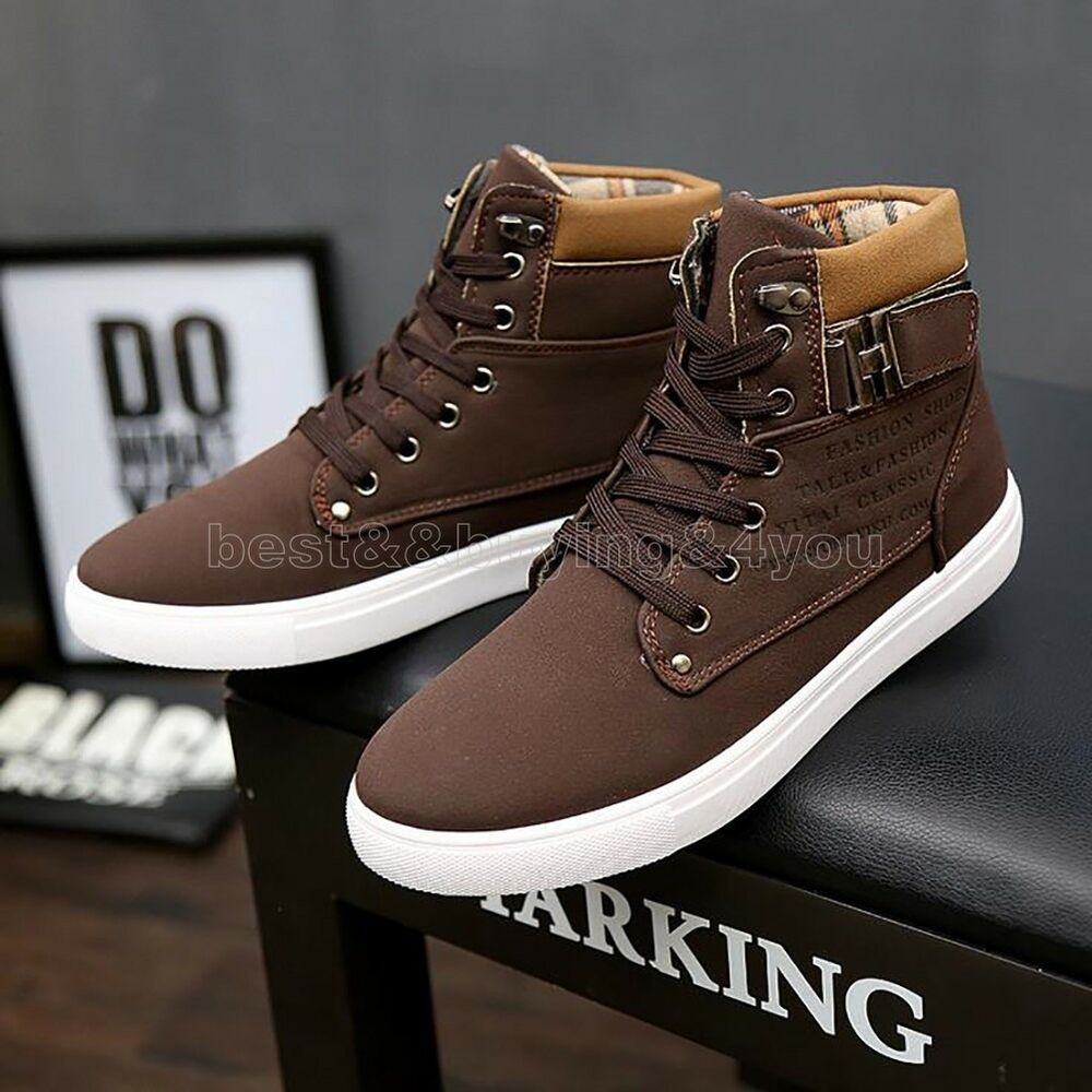 mens shoes leather shoes casual high top shoes canvas