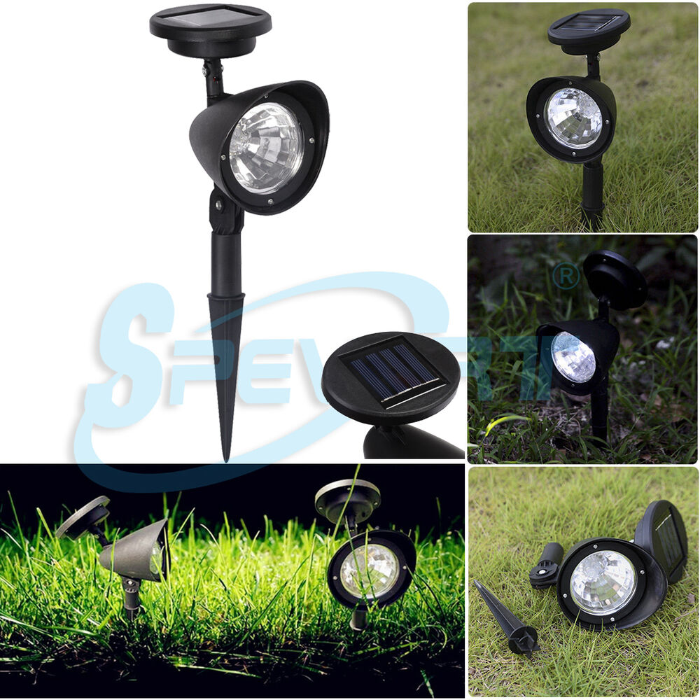 4 led lampe solaire jardin projecteur ext rieur eclairage cour paysage lumi re ebay. Black Bedroom Furniture Sets. Home Design Ideas