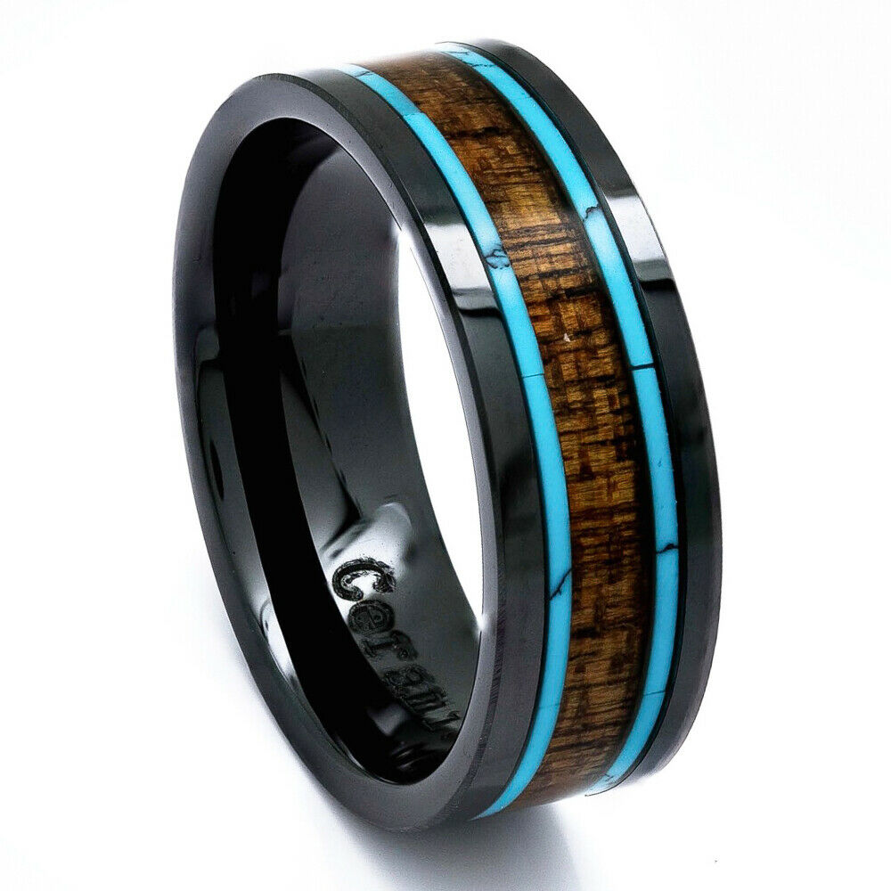 Men39s wedding ring black ceramic koa wood turquoise 8mm for Mens turquoise wedding rings