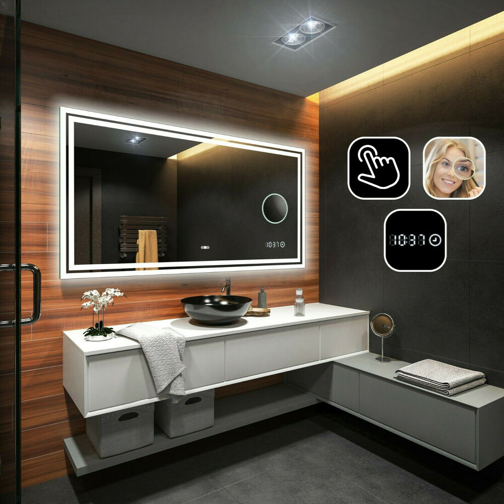 badspiegel mit led beleuchtung mit schminkspiegel led uhr und touch schalter ebay. Black Bedroom Furniture Sets. Home Design Ideas