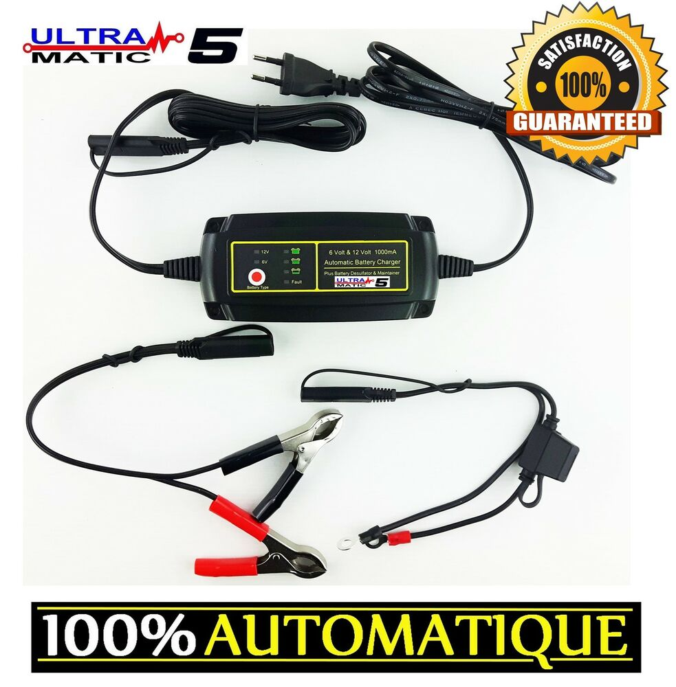 chargeur batteries auto voiture moto 12v 6v maintient charge cable permanent ebay. Black Bedroom Furniture Sets. Home Design Ideas