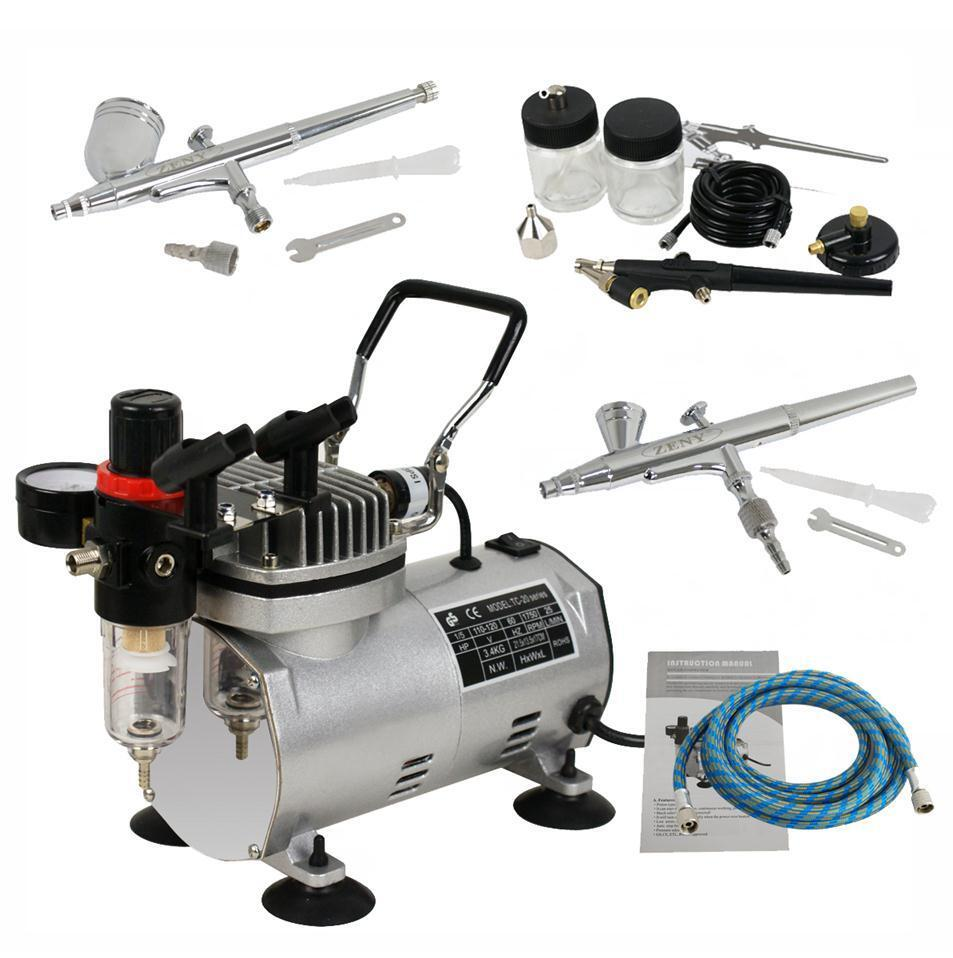 New Pro Dual Action 3 AIRBRUSH AIR COMPRESSOR Kit Craft