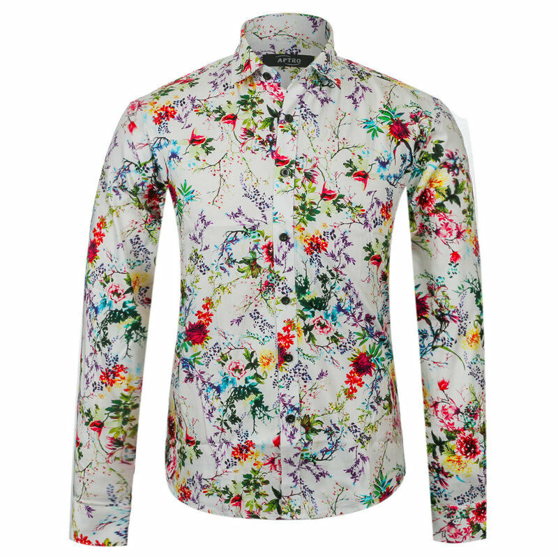 Men Vintage Long Sleeve Floral Shirt Multi Color Button