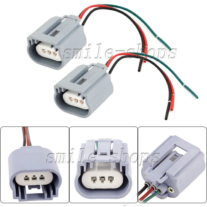 2pcs H13 9008 Headlight Pigtail Wiring Harness Female Socket Connector Adapter 707427236486